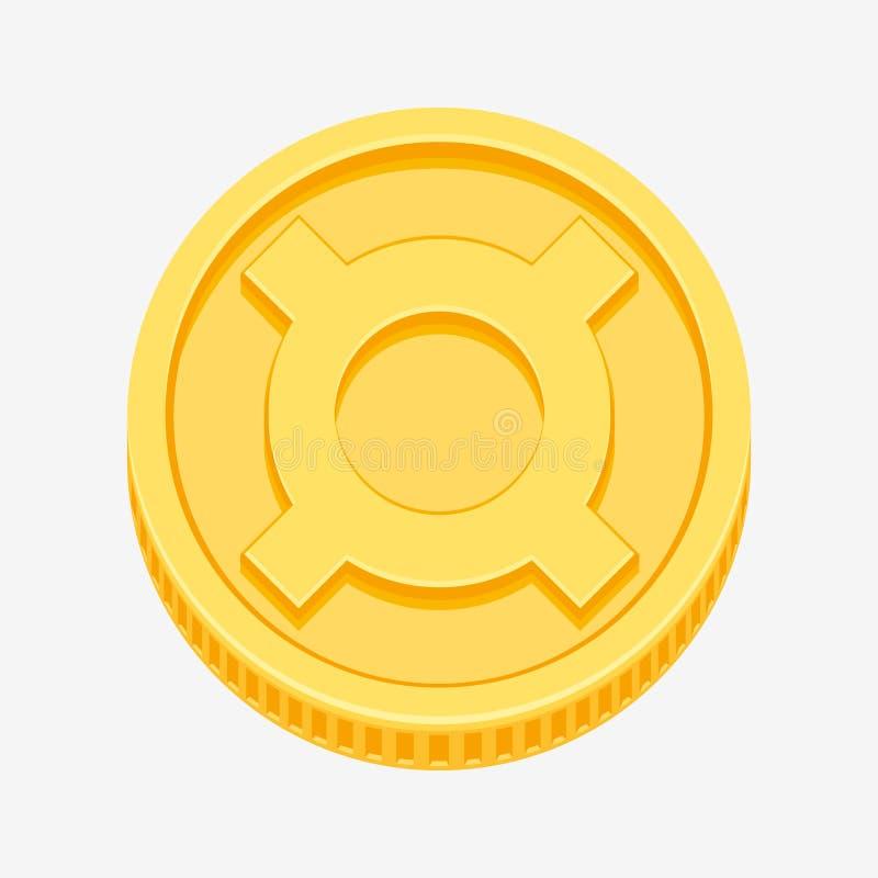 Symbole monétaire générique sur la pièce d'or illustration stock