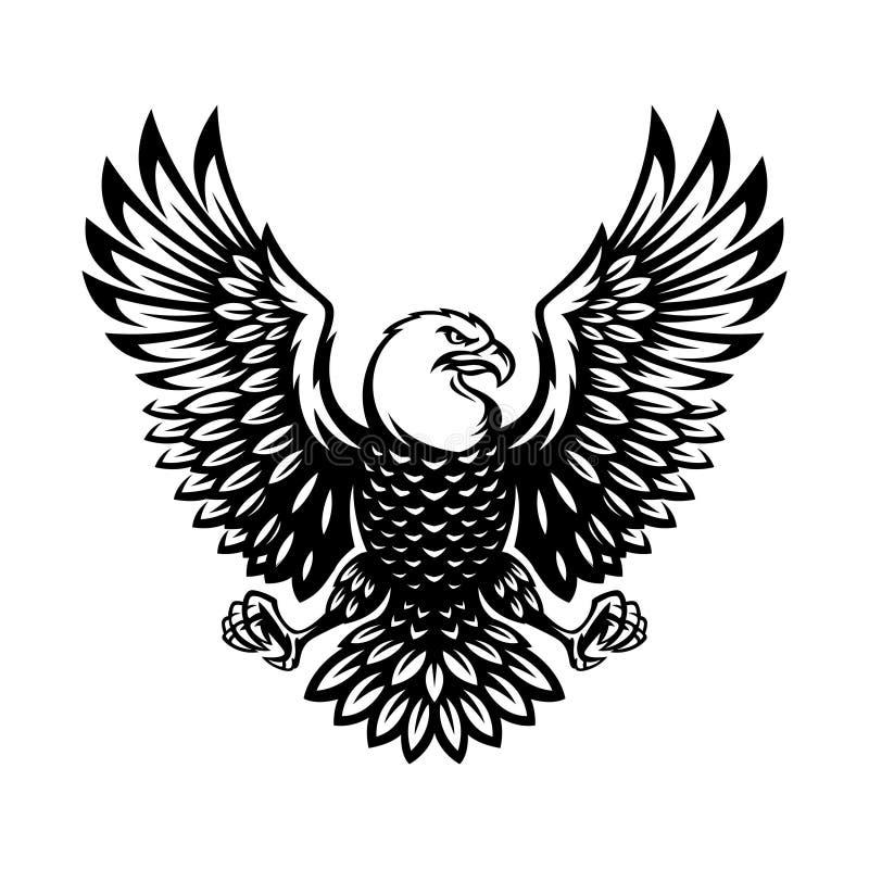 Symbole monochrome d'aigle dans le style de vintage illustration stock