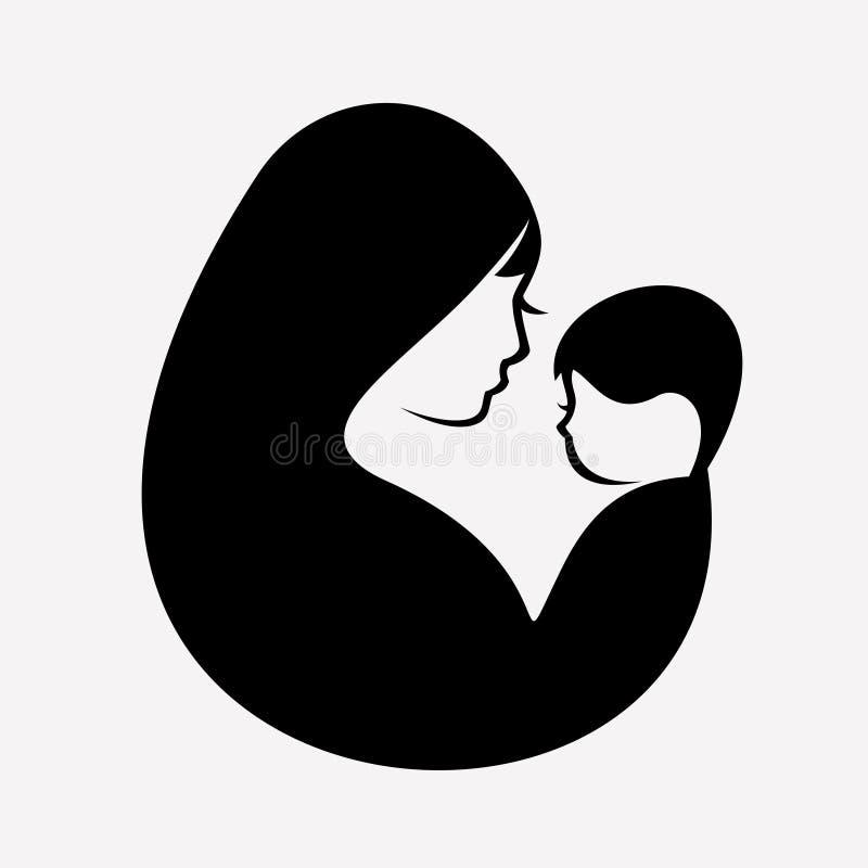 Symbole musulman de vecteur de mère et de bébé illustration stock