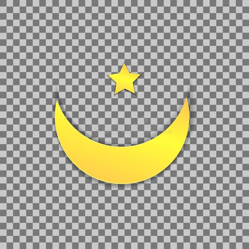 Symbole musulman de vecteur, lune de papier et étoile, illustration colorée illustration stock