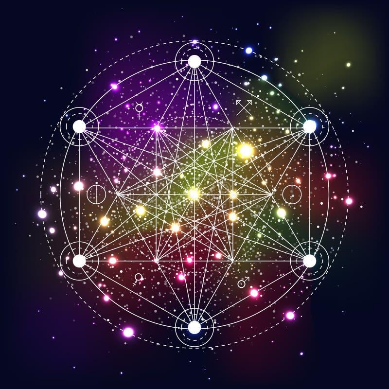 Symbole mystique de la géométrie sur le fond de l'espace illustration de vecteur