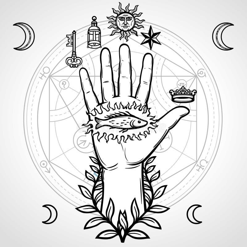 Symbole mystique : main humaine, la géométrie sacrée Cercle alchimique des transformations illustration libre de droits