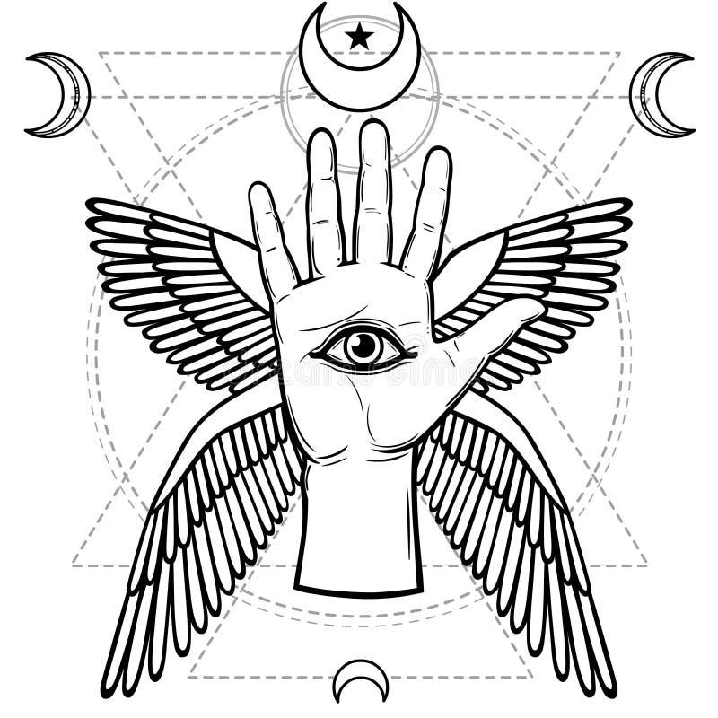 Symbole mystique : main humaine, oeil de Providence, la géométrie sacrée illustration libre de droits