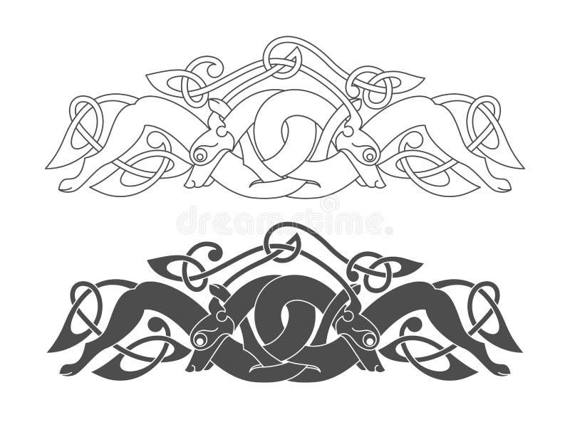 Symbole mythologique celtique antique de loup, chien, bête illustration libre de droits