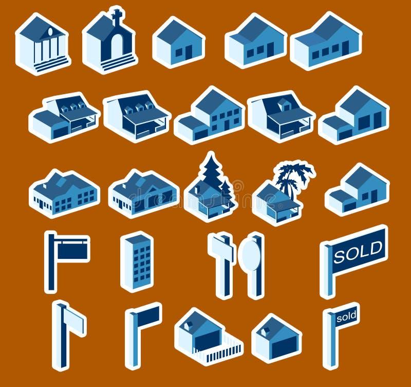 symbole naprawdę zestaw nieruchomości ilustracja wektor