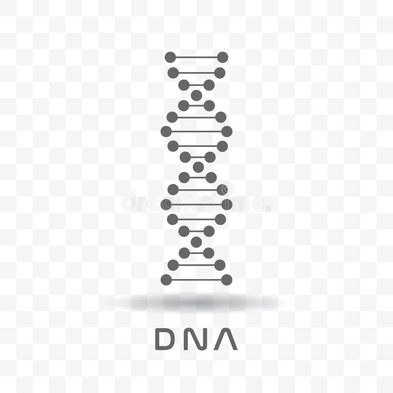 Symbole noir de brin d'ADN de résumé d'isolement sur le fond transparent illustration stock