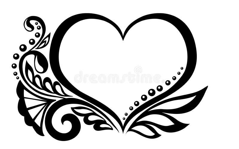 Symbole noir et blanc d'un coeur avec le desi floral illustration libre de droits