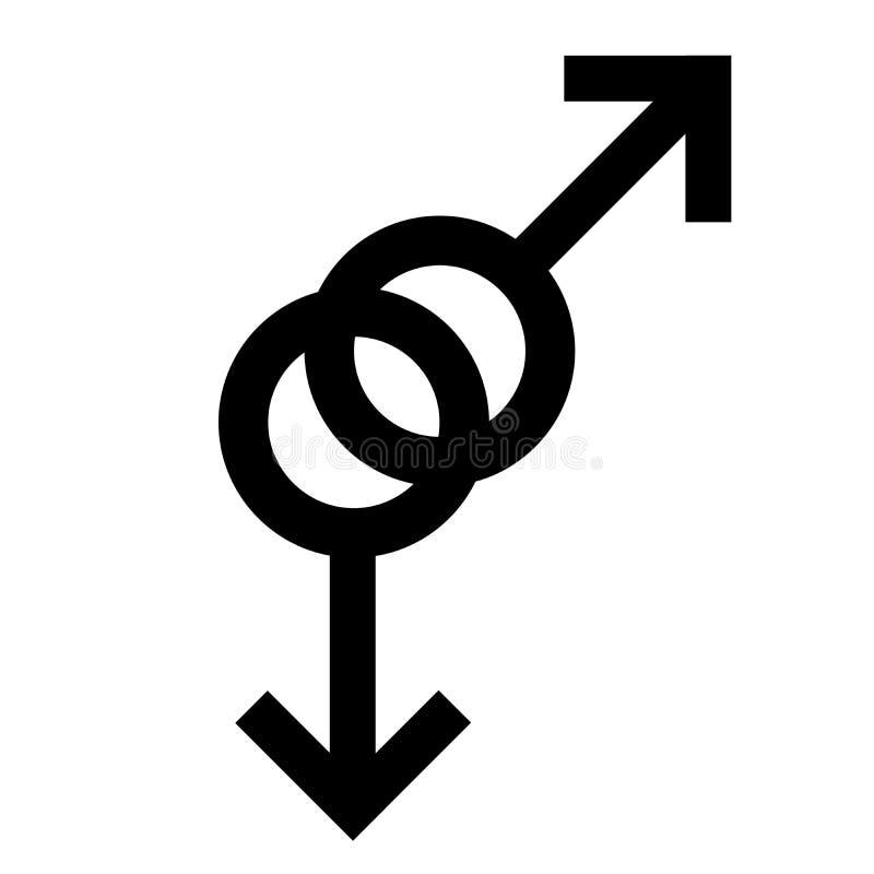Symbole noir homosexuel de sexe Symbole d'homme de genre Symbole abstrait masculin Illustration de vecteur illustration de vecteur
