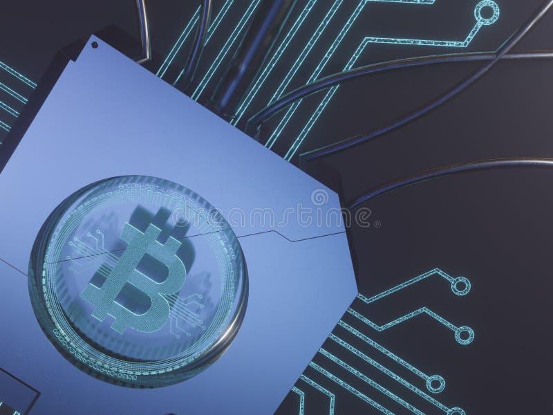 Symbole numérique bleu d'hologramme du laser 3d du rendu du concept 3D de bitcoin image libre de droits