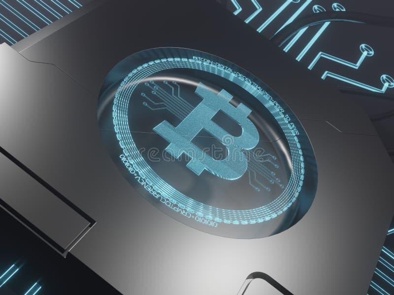 Symbole numérique bleu d'hologramme du laser 3d du rendu du concept 3D de bitcoin photos stock