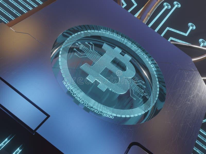 Symbole numérique bleu d'hologramme du laser 3d du rendu du concept 3D de bitcoin images libres de droits