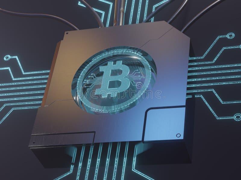 Symbole numérique bleu d'hologramme du laser 3d du rendu du concept 3D de bitcoin photo stock