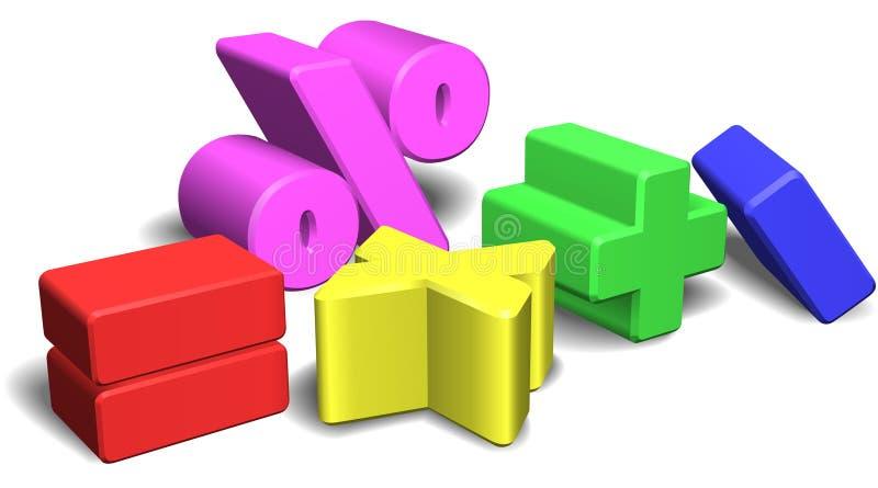 Symbole oder Zeichen Mathe 3d lizenzfreie abbildung