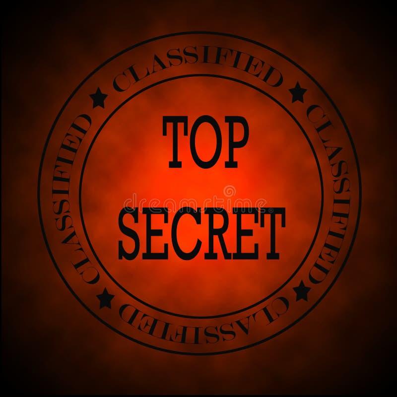 Symbole ou estampille extrêmement secret classifié rouge rougeoyant illustration libre de droits
