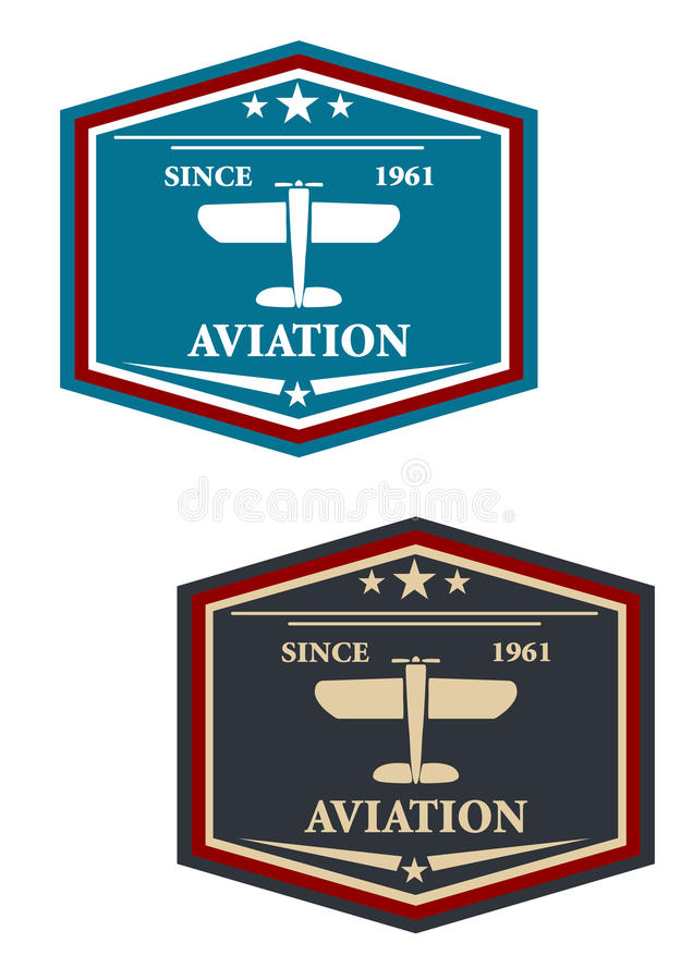 Symbole ou insignes d'aviation avec l'avion illustration stock