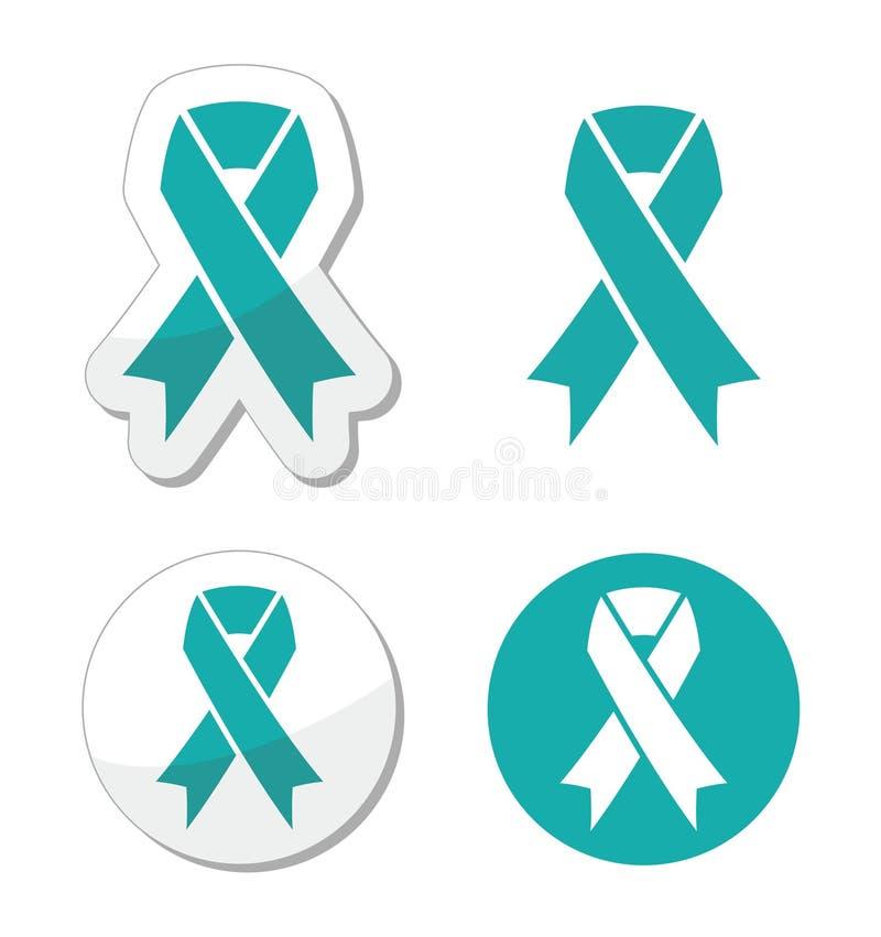 Symbole ovarien, cervical, et utérin de ruban de Teal - de cancers illustration stock