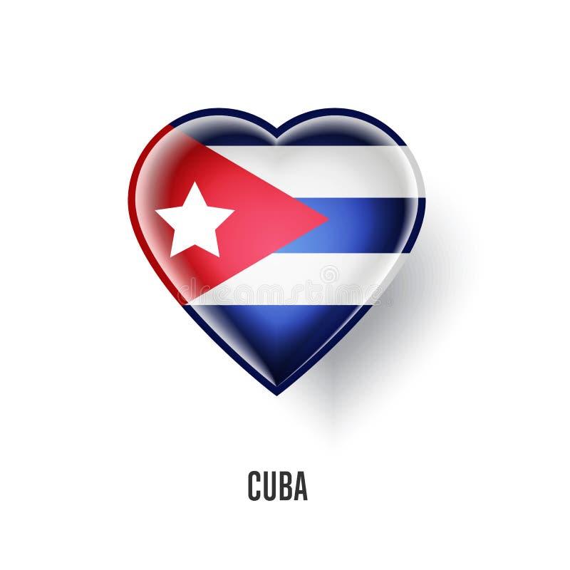 Symbole patriotique de coeur avec le drapeau du Cuba illustration de vecteur