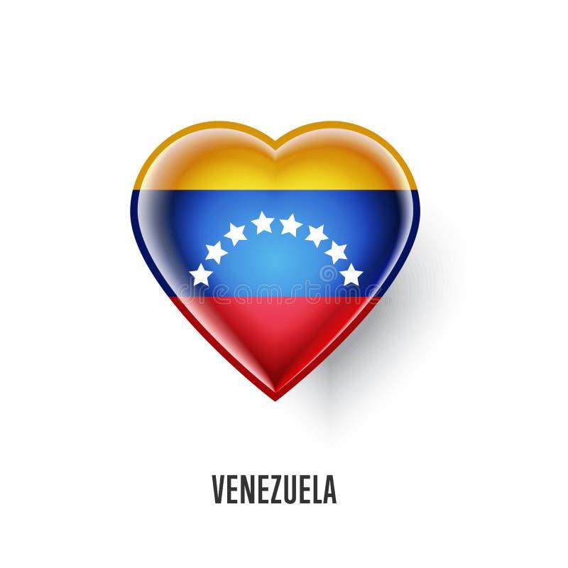 Symbole patriotique de coeur avec le drapeau du Venezuela illustration stock