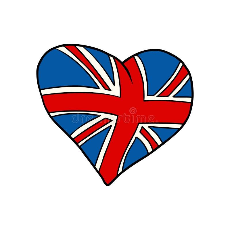 Symbole patriotique de coeur du Royaume-Uni illustration stock