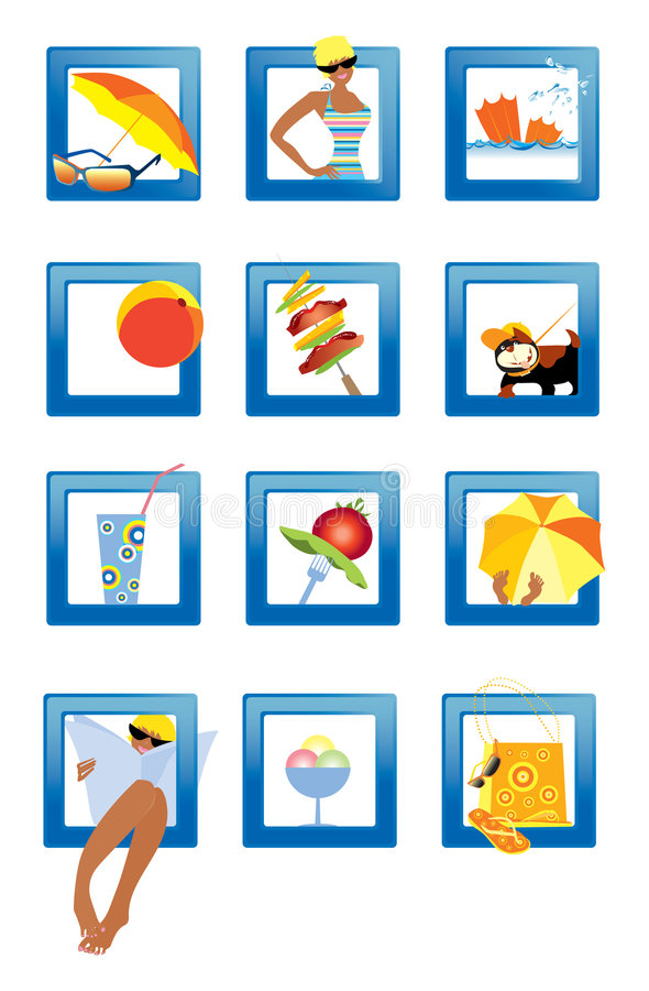 symbole plażowych royalty ilustracja