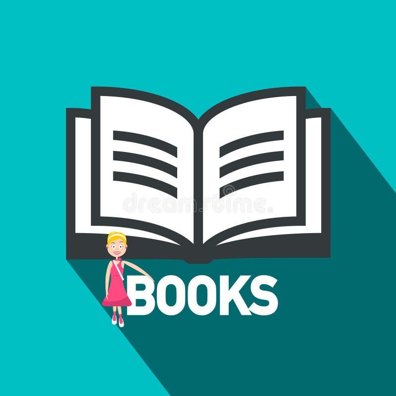 Symbole plat de conception de livres Ouvrez l'icône de vecteur de livre illustration stock