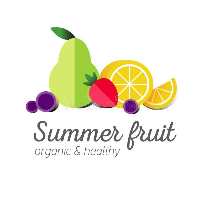 Symbole plat de logo ou de fruit illustration de vecteur