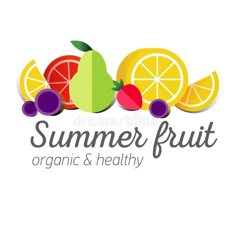 Symbole plat de logo ou de fruit illustration stock