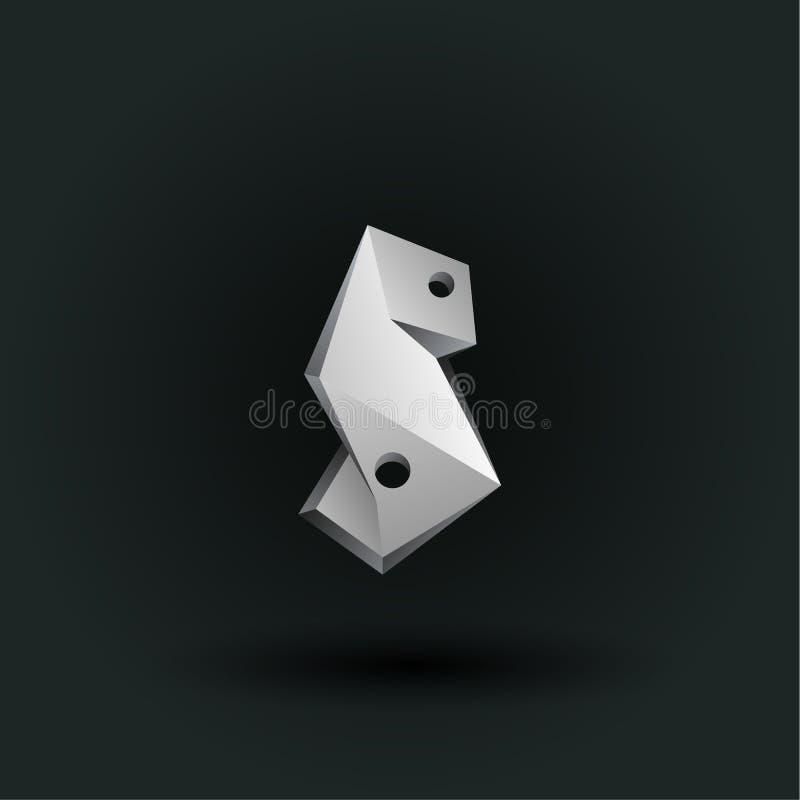 Symbole polygonal de nombre de vecteur Bas poly numéro blanc cinq illustration stock
