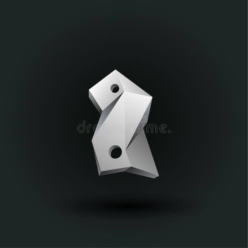Symbole polygonal de nombre de vecteur Bas poly numéro blanc deux illustration de vecteur