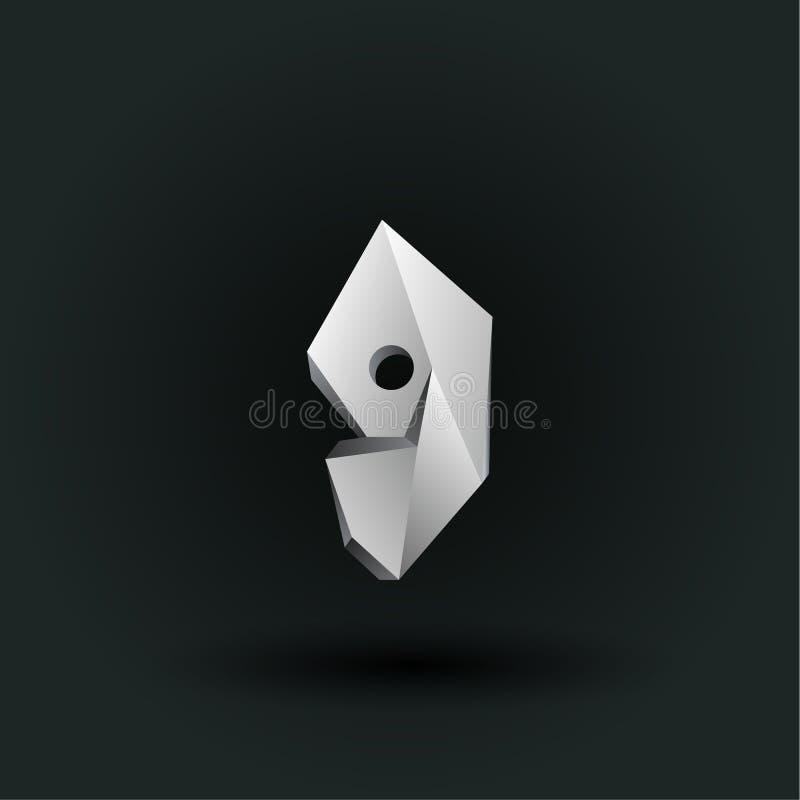 Symbole polygonal de nombre de vecteur Bas poly numéro blanc neuf illustration libre de droits