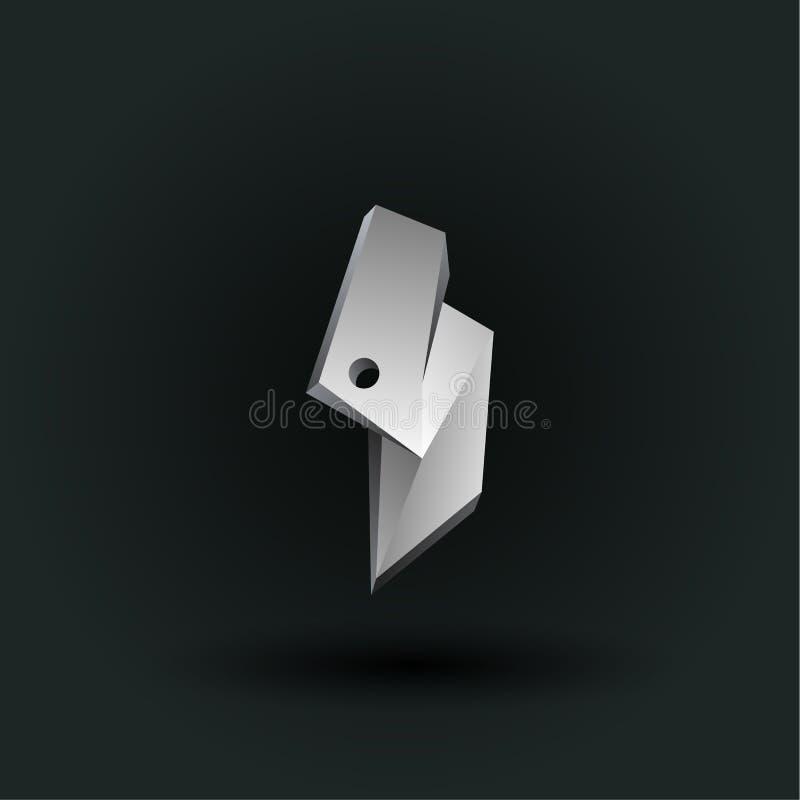 Symbole polygonal de nombre de vecteur Bas poly numéro blanc quatre illustration stock