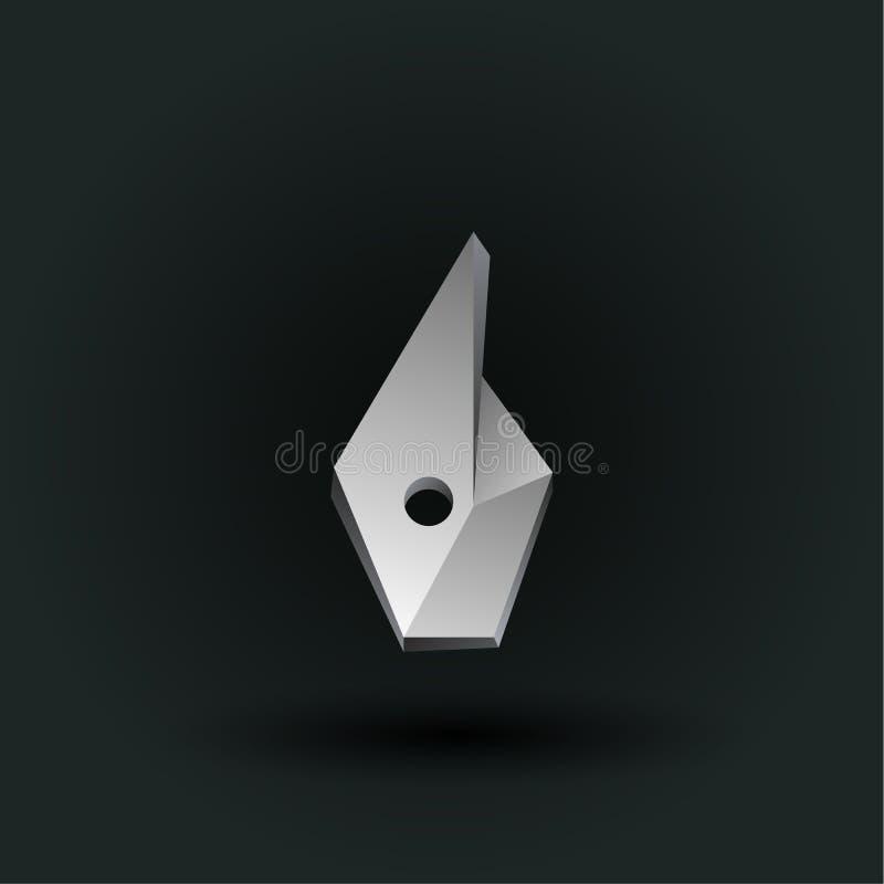 Symbole polygonal de nombre de vecteur Bas poly numéro blanc six illustration stock