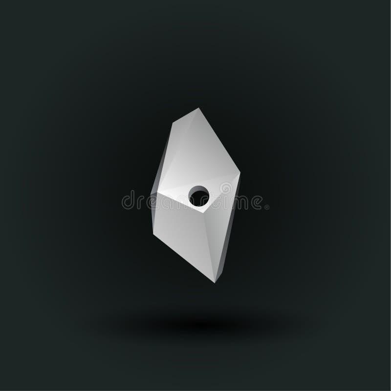 Symbole polygonal de nombre de vecteur Bas poly numéro blanc zéro illustration de vecteur