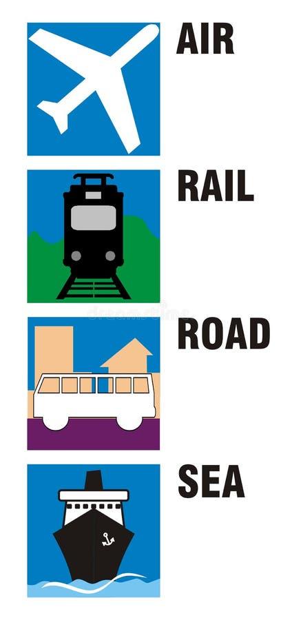 symbole powietrza drogi kolejowej podróży ilustracja wektor