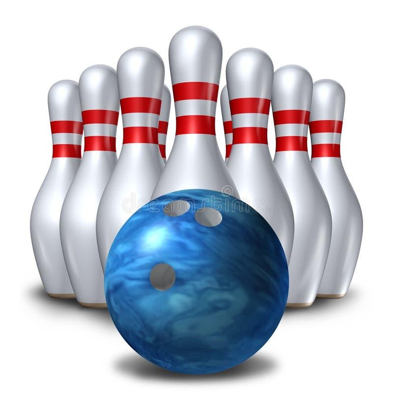 Symbole réglé de cuvette de bille de broche des bornes de bowling dix illustration de vecteur