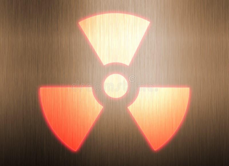 Symbole radioactif sur le fond en métal illustration stock