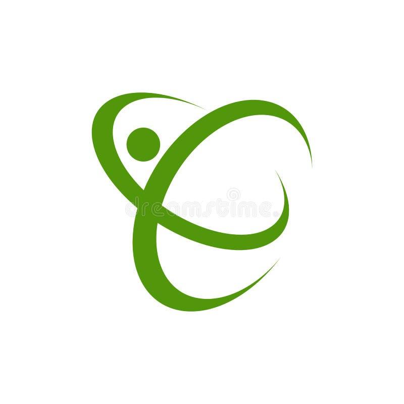 Symbole rond abstrait avec la silhouette humaine heureuse Concept de construction central de logo de soins de santé médicaux de f illustration libre de droits