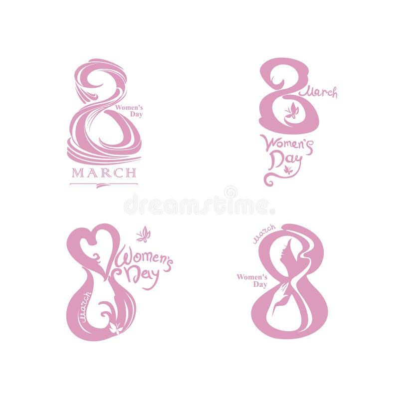 Symbole rose poussiéreux de quatre calibres de vecteur du 8 mars illustration libre de droits