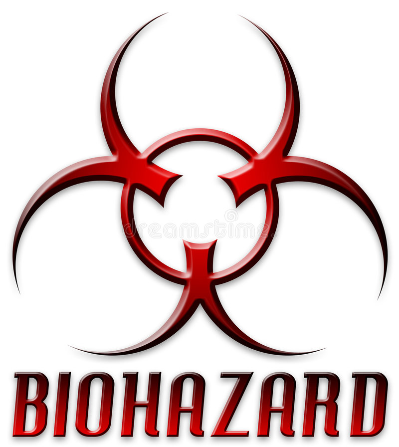 Symbole rouge conique de Biohazard illustration stock