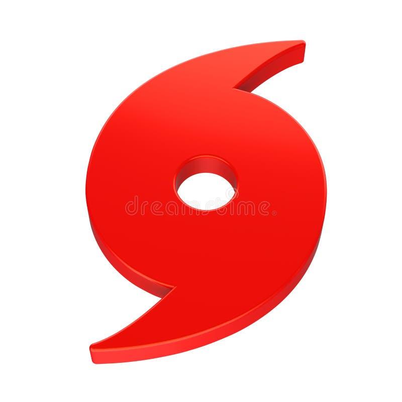 Symbole rouge d'ouragan d'isolement illustration libre de droits