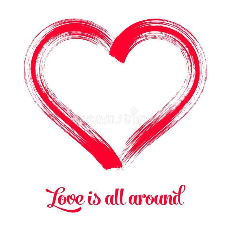 Symbole rouge de coeur de course de brosse illustration stock
