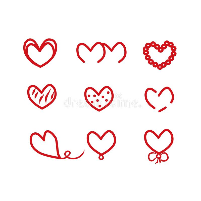 Symbole rouge de coeur de l'amour, vacances de Valentine Ic?ne plate Illustration de logo d'élément Décrivez l'objet, vecteur Dos illustration stock