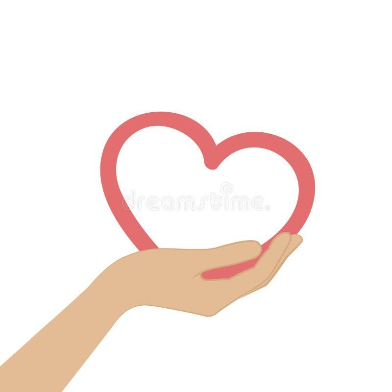 Symbole rouge de coeur de prise femelle de main illustration libre de droits