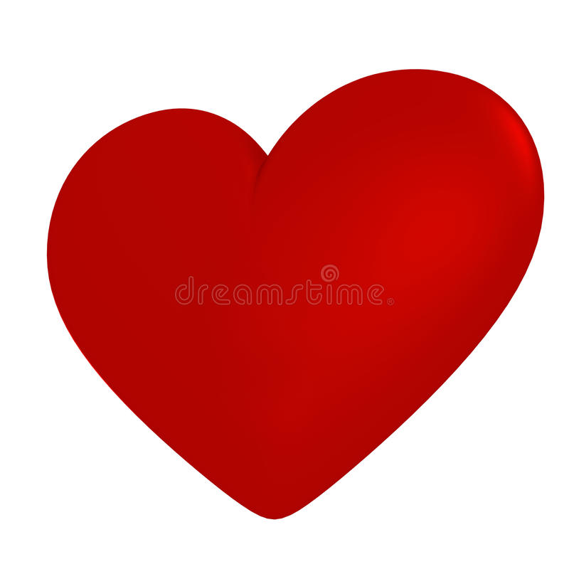 Symbole rouge de coeur sur un fond blanc images stock