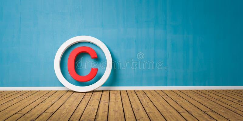 Symbole rouge de Copyright sur le maigre de plancher de Wodden sur le mur grunge bleu avec l'espace de copie - 3D-Illustration illustration libre de droits