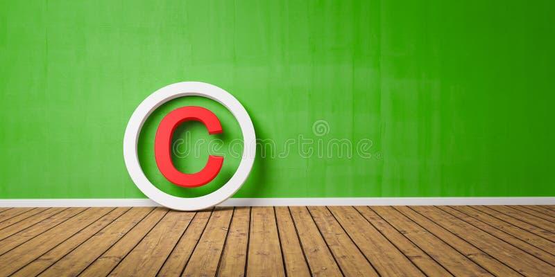 Symbole rouge de Copyright sur le maigre de plancher de Wodden sur le mur grunge vert avec l'espace de copie - 3D-Illustration photographie stock