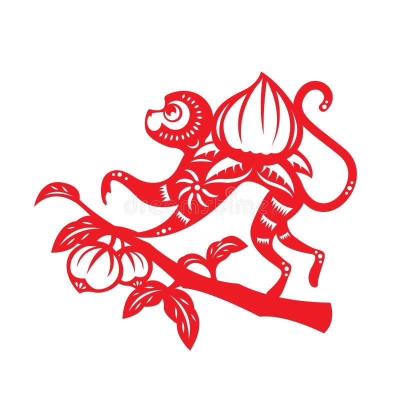 Symbole rouge de zodiaque de singe de coupe de papier (singe et pêche) illustration de vecteur