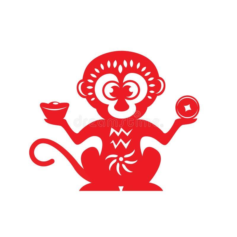 Symbole rouge de zodiaque de singe de coupe de papier (singe tenant l'argent) illustration stock