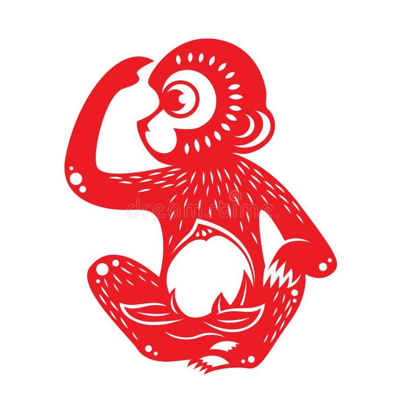 Symbole rouge de zodiaque de singe de coupe de papier (singe tenant la pêche) illustration de vecteur