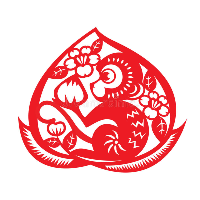 Symbole rouge de zodiaque de singe de coupe de papier (singe tenant la pêche en pêche) illustration libre de droits